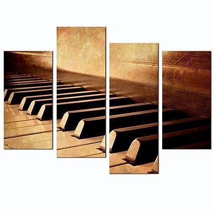amazon com live art decor 4 panels wall art sepia tone piano keys