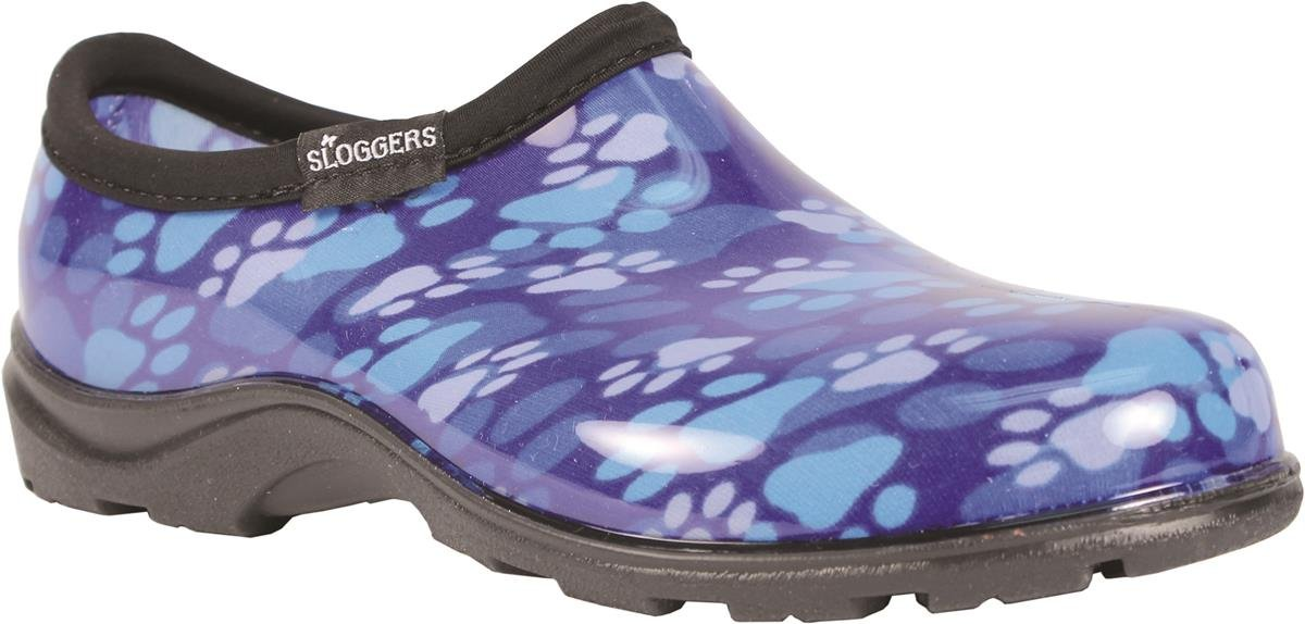Sloggers Women's Waterproof Rain and Garden Shoe with Comfort Insole, Blue Paw Print, Size 6, Style 5114QB06