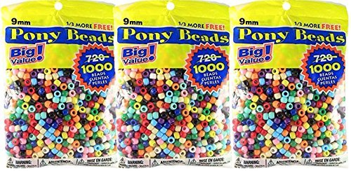 Pony Beads Multi Color 9mm 3000 Pcs -