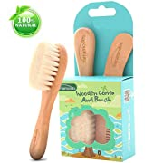 Baby Goat Hair Brush and Comb Set for Newborns & Toddlers Eco-Friendly Safe Brush for Cradle Cap Natural Wooden Comb Perfect Baby Shower and Registry Gift (Baby Hair Brush and Comb Set 1)