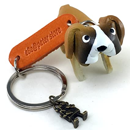 Amazon.com   ST.BERNARD 3D Animal Style So Cute Handcraft Leather Keychain  Keyring Made in THAILAND   Office Products c206c1b08