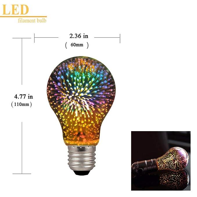 Amazon.com: Century Light - A19/A60 4W LED 3D Colorful Star Fireworks Light Bulb(2200K), E26 Base Edison Bulb Light for Holiday Home Bar Decoration ...