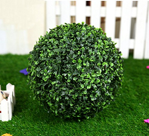 2PCS Full BALL Uv Artificial Boxwood Ball (sold in Pairs) Faux Topiary Plant ball Floral House Wedding Decor (1, 14