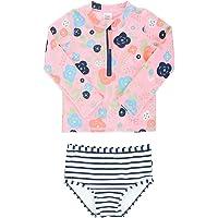 Osh Kosh Baby Girls Short Sleeve Rash Guard Set with Tie Bottoms