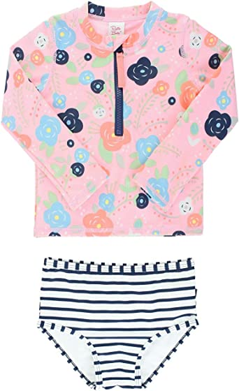 Toddler Baby Girls Sun Protection Swimsuit Little Girls Two Pieces Long Sleeve Bathing Suit Kids Rash Guard Sets UPF 50+