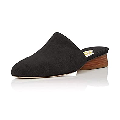 e01e19771d667 YDN Women Stacked Low Heel Mules Slide on Closed Toe Clogs Block Casual Slippers  Shoes Black