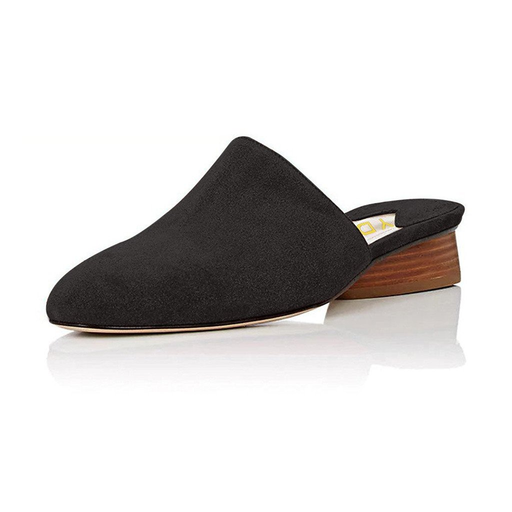 YDN Women Stacked Low Heel Mules Slide on Closed Toe Clogs Block Casual Slippers Shoes Black 7