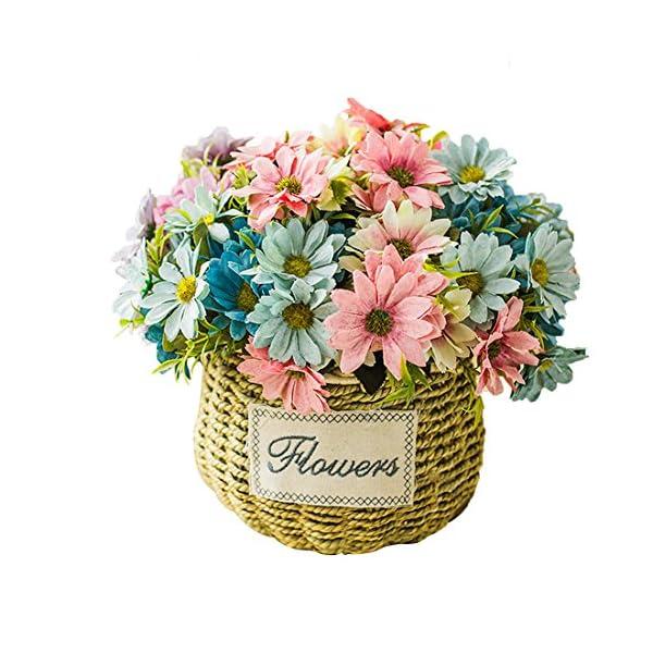 "Calcifer 5 Sets (5 Stems/Set) 11.81""European Cosmos Artificial Small Daisy Flowers Bouquet for Home Decoration/Wedding Decor (White)"