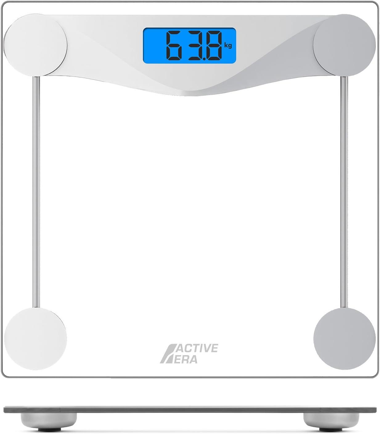 stone//kg//lbs Active Era® Pèse-personne électronique ultra fin avec capteurs haute précision et verre trempé