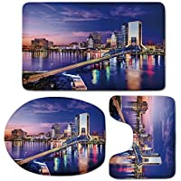3 Piece Bath Mat Rug Set,United-States,Bathroom Non-Slip Floor Mat,Jacksonville-Florida-Skyline-Vibrant-Night-St.-Johns-River-Scenic,Pedestal Rug + Lid Toilet Cover + Bath Mat,Royal-Blue-Light-Pink