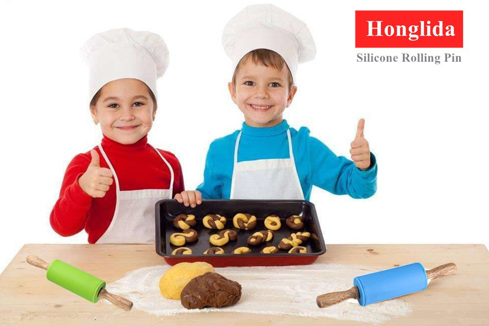 Honglida 9 Inch Silicone Rolling Pin for Kids, Non-stick Surface and Comfortable Wood Handles(Pack of 2) by HONGLIDA (Image #6)