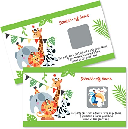 Safari Monkey Baby Shower Bingo Game Cards Jungle Animals Baby Shower Bingo Cards Set of 20 Cards