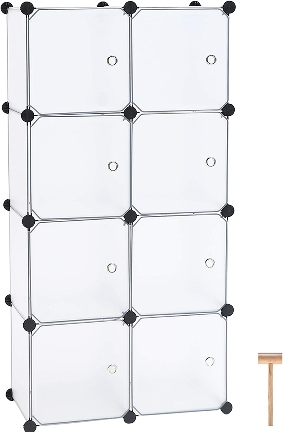 "C&AHOME Cube Storage Organizer, 8-Cube Plastic Closet Cabinet, DIY Bookcase Organizer Units, Storage Shelve with Doors Ideal for Bedroom, Living Room, 24.8""L x 12.4"" W x 48.4"" H Translucent White"