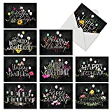 10 Blank 'Chalk and Roses' Boxed Birthday Cards with Envelopes (4 x 5.12 Inch) - Assortment of Note Cards w/Happy Bday Greetings for Kids, Adults - Notecard Stationery M6479BDB