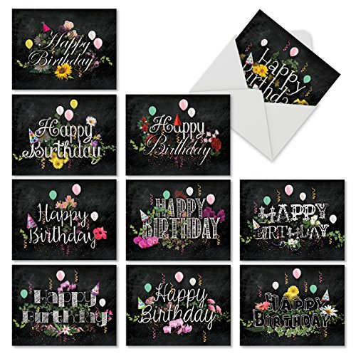 10 Blank 'Chalk and Roses' Boxed Birthday Cards with Envelopes 4 x 5.12 inch - Assortment of Note Cards w/ Happy Bday Greetings for Kids, Adults - Notecard Stationery M6479BDB ()