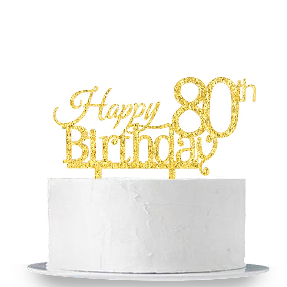 INNORU Happy 80th Birthday Cake Topper - Gold 80th Birthday Party Decoration Supplies