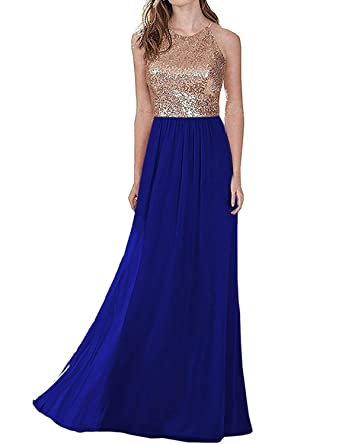 JoyVany Womens Chiffon Sequins Prom Dresses 2018 Long Formal Gown Size 2 Royal Blue