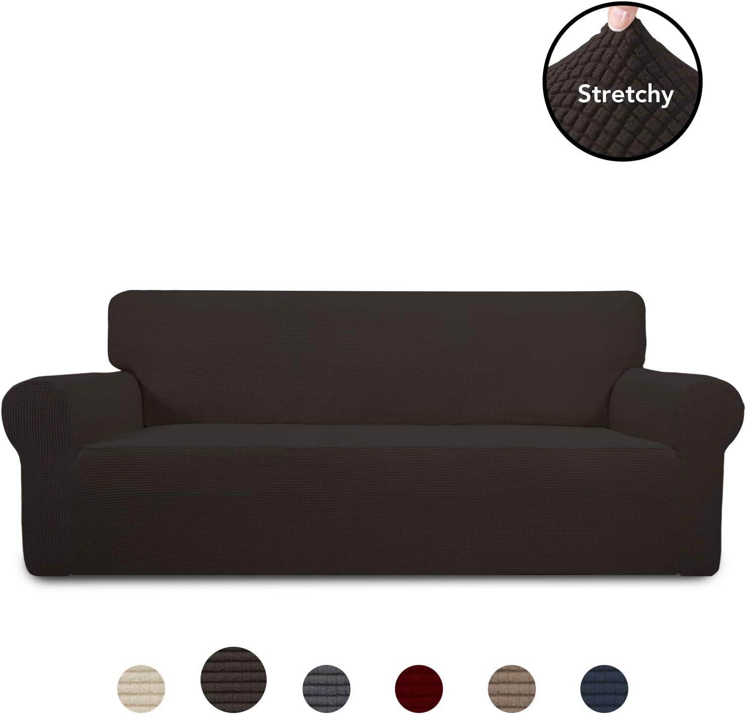 PureFit Stretch Sofa Slipcover – Spandex Jacquard Anti-Slip Soft Couch Sofa Cover, Washable Furniture Protector with Anti-Skid Foam and Elastic Bottom for Kids (Sofa, Chocolate)