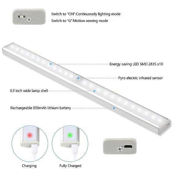 20 LED de aluminio Sensor de movimiento Stick-on Luz Luz de armario Luz de noche, recargable Wireless Cabinet Noche Stick-on en cualquier lugar para baño, ...