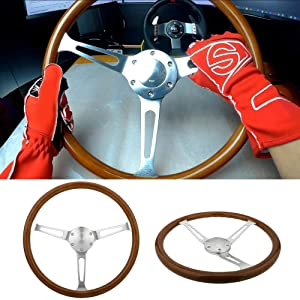 "380mm Wood Steering Wheel with Horn Kit,Classic Nostalgia Style Wooden Steering Wheel, 14""inch Wood Grain Steering Wheel Fit for Classic Cars"