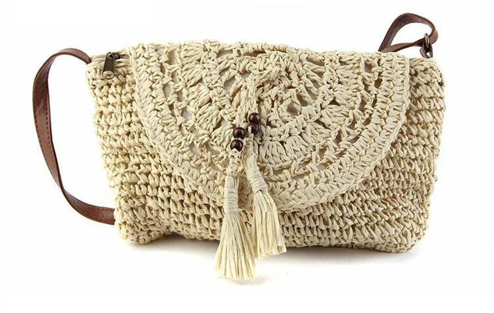 qiulv Crossbody bolso de paja bolsos huecos Crochet mujeres tejidas ...