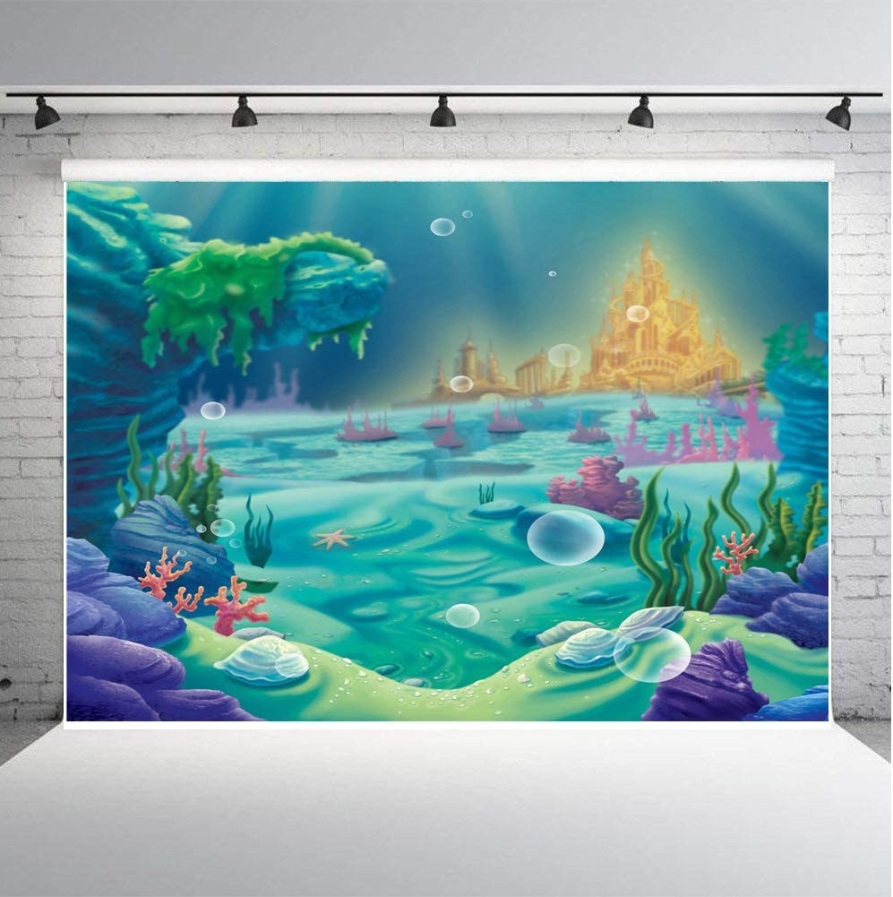 Qian Photography Backdrops Birthday Party Decoration Supplies Photo Booth Under The Sea Little Mermaid Seabed Castle Background Coloured Coral 7x5ft Studio Props Vinyl