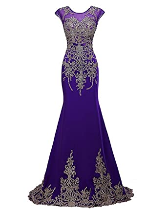 Kings Love Rhinestone Lace Mermaid Evening Dresses Sleeveless Prom Dress For Women Purple US2