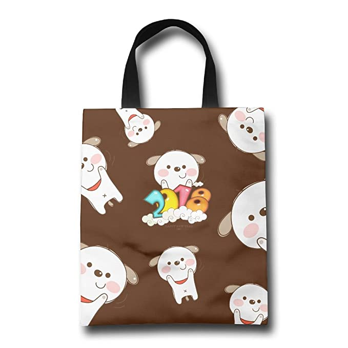 2018 happy new year cute dog gift bags heavy year reusable grocery tote grocery bags