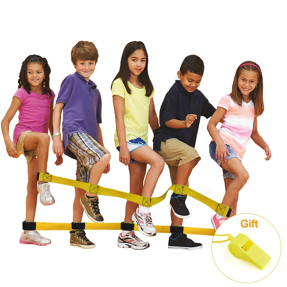 Hurriman 4 Legged Race Bands Outdoor Yard Party Team Building Cooperative Games for Kids Adults with Sports Whistle