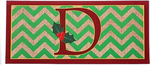 Evergreen Holly Monogram D Decorative Mat Insert, 10 x 22 inches