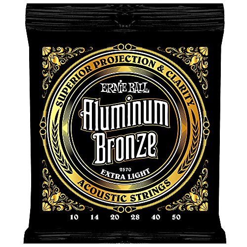 Ernie Ball Aluminum Bronze Extra Light Acoustic Set, .010 - .050