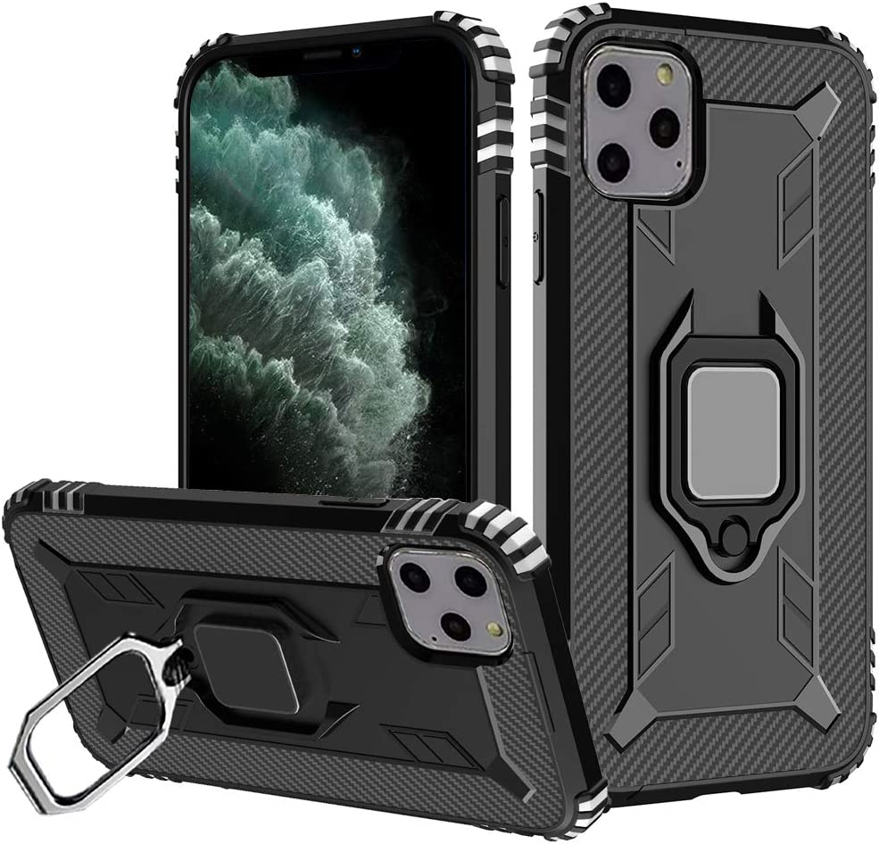 11pro Max Case Compatible With Apple iPhone 11 Pro Max Phone Cases Aifon iPhones Pro11 Eleven Mas Kickstand Feature Rugged Wave Magnetic Shockproof Cover Ring Holder Protection Fundas 6.5 inch (Black)