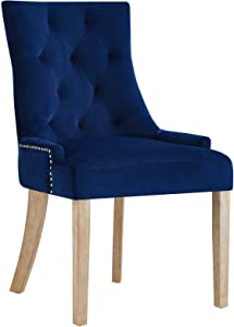 Modway Pose Tufted Performance Velvet Upholstered Dining Chair with Nailhead Trim in Navy
