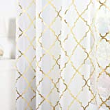 Kotile White and Gold Sheer Curtains for Bedroom - Gold Moroccan Tile Curtain Rod Pocket White Window Curtains 63 Inch Length