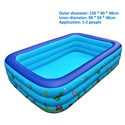 Family Inflatable Swimming Pools, Full-Sized Easy Set Kiddie Pools with Pump and Patch Kit, for Kids, Adults, Babies, Toddlers, Outdoor, Garden, Backyard(Accommodate Up to 10 People),3layers 130X90X4: Home & Kitchen