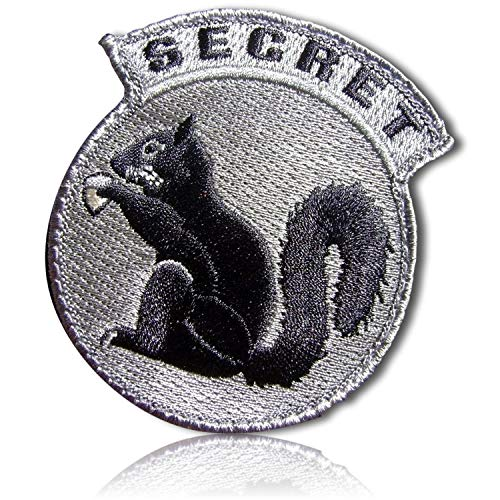 (Top Secret Realistic Undercover Squirrel Chipmunk Animal Holding Acorn Gear USA Circle Circular Tactical Badge Tab Hook & Loop Fastener Patch [3.2