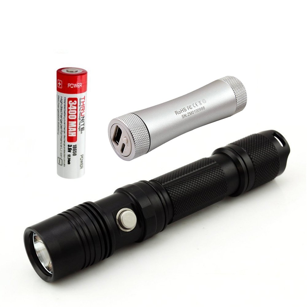 ThruNite TN12 EDC LED Flashlight Max Output 1100 ANSI Lumen with Cree XP-L LED 5 Versatile Modes Waterproof to IPX-8 C2 Portable Charger