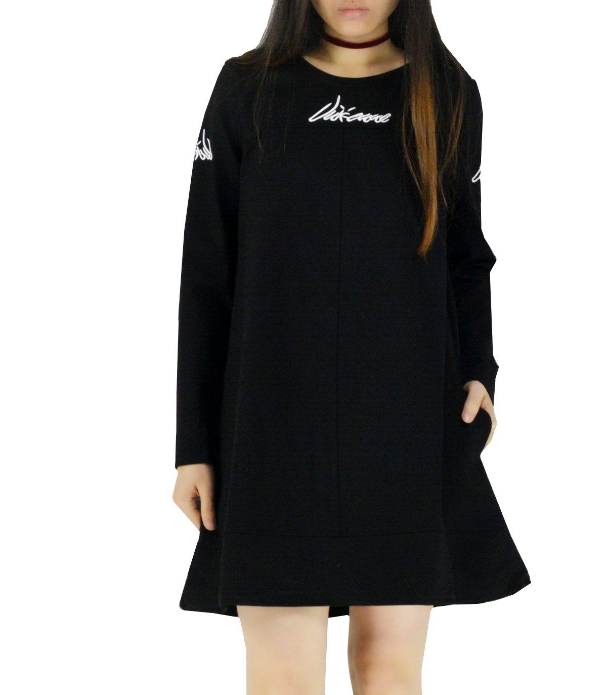YSJ Women's Casual Oversized Loose Fit Tunic Long Sweatshirts Hoodie Dress (Black, L)
