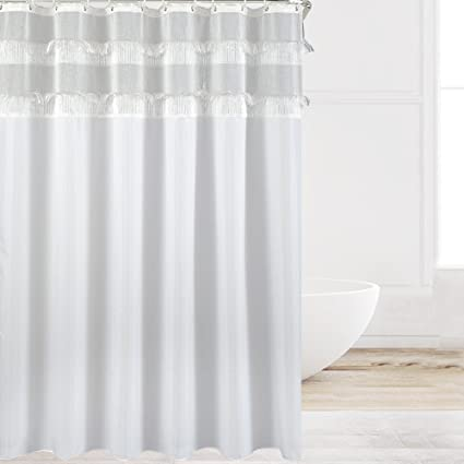 Eforcurtain Shabby Chic White Polyester Shower Curtains With Tassel Fringes Top Water Repellent Mold Resistant