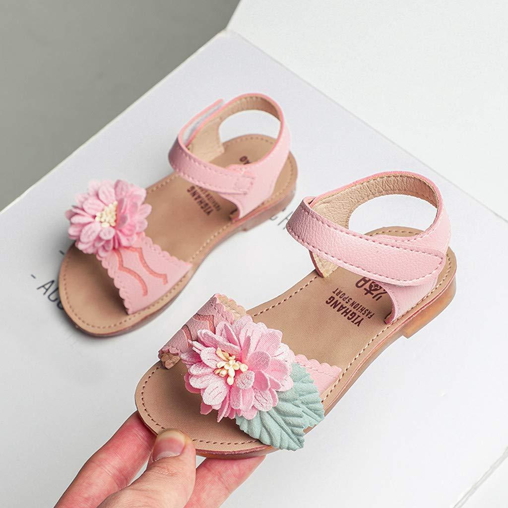 ❤️ Sunbona Toddler Infant Kids Baby Girls Ballet Sandals Peep Toe Ankle Strap Casual Single Flower Hook Shoes Dancing