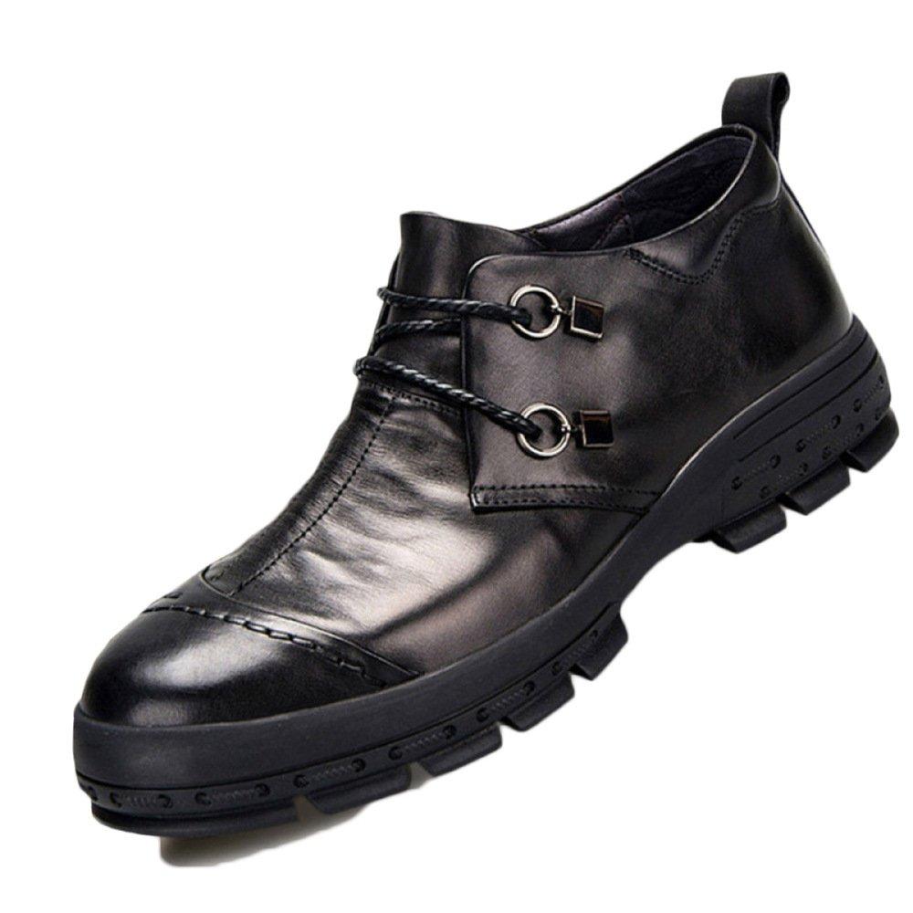 Nihiug Wanderschuhe Männer Wasserdicht Schwarz Leichte Leder Herrenschuhe Business Casual Dicken Boden Hohe Schuhe