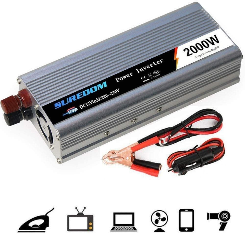 KPL Potencia del inversor de Onda sinusoidal Pura 1000W 1500W 2000W (Potencia Continua) Power Inverter 12 / 24V DC for enchufes de 110 / 220V AC Coche convertidor de Corriente alterna con Puertos USB