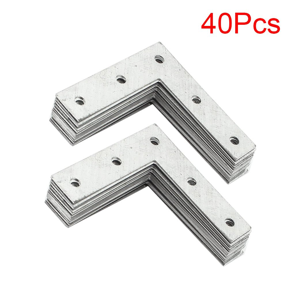 "LDEXIN 40pcs Heavy Duty Stainless Steel 93x93mm/ 3.7"" 1mm Thicker L Shape Flat Corner Brace Bracket 90 Degree Right Angle Fixing Repair Plated Bracket Joint Fastener Wooden Furniture Fixture Protector"
