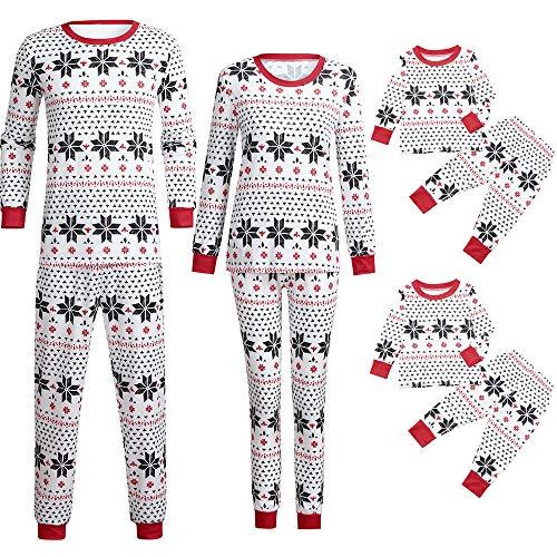 Kaicran Christmas Family Matching Pajamas Set Snowflake Shirt Pants Sleepwear Children Clothes (Kids, 3-4 Years)