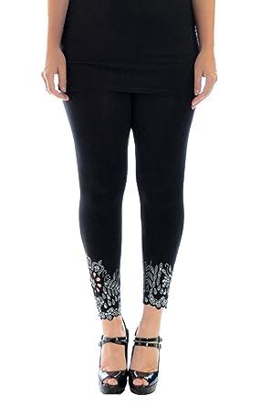 9929919d54f Womens Plus Size Leggings Beaded Floral Sequin Laser Cut Soft Pants  Nouvelle Collection  Amazon.co.uk  Clothing