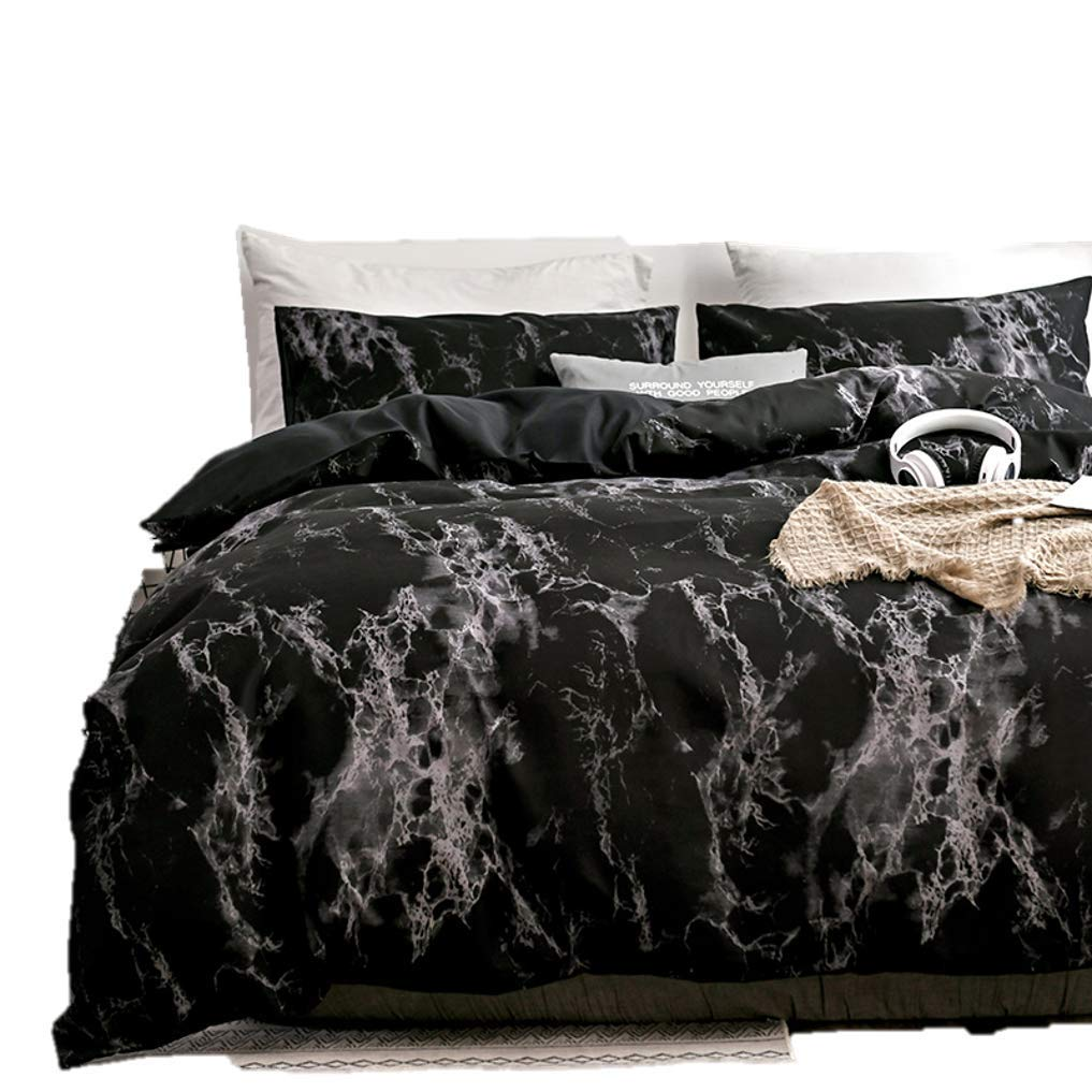 Spring Meow Duvet Cover Set - Black Marble King Comforter Cover with Incredibly Soft and Lightweight, 3-PCS(1 Duvet Cover + 2 Pillow Shams) -King, Queen (Black, King)