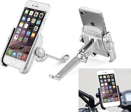Soporte Smartphone Universal Moto Espejo Retrovisor Rotación de Aluminio para Motociclo Ciclomotor Scooter para Móvil Navegador GPS (Espejo DE Plata): Amazon.es: Coche y moto