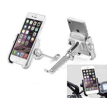 13a646c67 Soporte SmartPhone universal moto espejo retrovisor rotación de aluminio  para Motociclo ciclomotor scooter para móvil navegador GPS: Amazon.es:  Electrónica