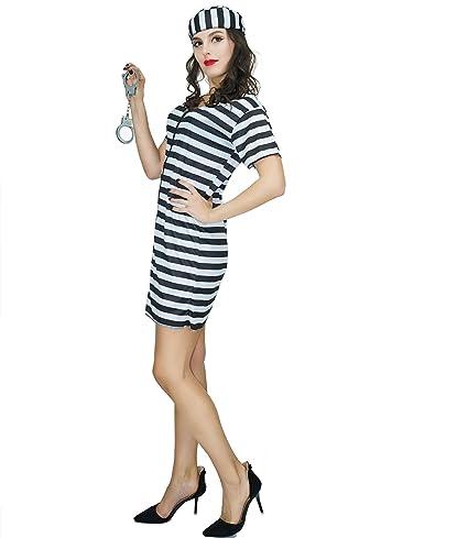 SEA HARE Traje de Disfraz de Disfraces de preso de Mujer (L ...
