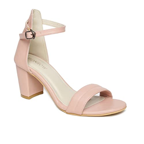 e7bc0025703b Monrow Blair Blush Pink Block Heels  Buy Online at Low Prices in India -  Amazon.in